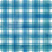 Watercolor Stripe Plaid Seamless Pattern. Colorful Teal Blue Stripes On White Background. Watercolou poster