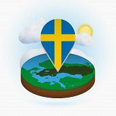 Isometric Round Map Of Sweden And Point Marker With Flag Of Sweden. Cloud And Sun On Background. Iso poster