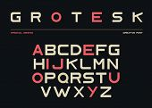Latin Alphabet, Sans Serif Font In Grotesk Retro Style. Abc Uppercase Letters On Black Background, T poster