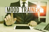 Text Sign Showing Mood Trainer. Conceptual Photo A Demonstrating Who Trains To Alleviate Mood Disord poster