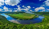 Spring Dnister River Landscape In Ternopil Region Of Western Ukraine. Idyllic View From Above With B poster