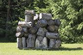 Stacks Of Firewood. Wall Firewood, Background Of Dry Chopped Firewood In A Pile. poster