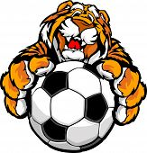 stock photo of cute tiger  - Graphic Mascot Vector Image of a Friendly Tiger with Paws on a Soccer Ball - JPG