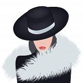 Fashionable Fur. Lady In An Elegant Hat And A Fur Collar - Isolated On A Light Background - Vector.  poster