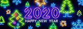 2020 Neon Text. 2020 New Year Design Template. Colorful Neon Light Banner. Vector Illustration. New  poster