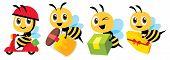 Cartoon Cute Bee Mascot Flat Art Vector Set. Cartoon Cute Bee Deliver Product Set. Cute Bee Ride Sco poster