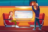 People In Train, Passengers Travel By Railway Car, Girl Sitting On Seat At Large Window With Mountai poster