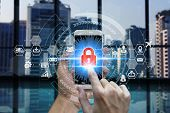 Businessman Touch Smart Phone Network Using Padlock Icon Technology With Virtual Screen Icons, Busin poster