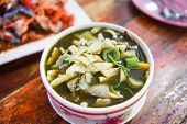 Bamboo Shoot Soup And Mushroom Herbs And Spices Ingredients Thai Food Served On Table / Tradition No poster