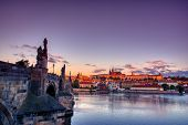 Scenic View On Vltava River And Historical Center Of Prague, Buildings And Landmarks Of Old Town, Pr poster