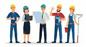 Technician Workers And Engineers Team. Technicians People Group, Engineering Worker And Construction poster