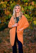 Girl Adorable Blonde Posing In Warm And Cozy Outfit Autumn Nature Background Defocused. Woman Walk S poster