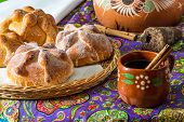 Traditional Mexican Bread Of The Dead (pan De Muerto) With Coffe poster