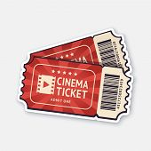 Vector Illustration. Two Cinema Tickets With Barcode. Pair Paper Retro Coupons For Movie Entry. Symb poster