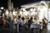 Abstract Blurred Restaurant Background. Blurry Cafe Or Coffee Shop With Dining Tables, Chairs And Ot poster