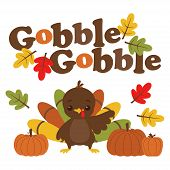 Cute Card Of Funny Turkey And Pumpkin Isolated On White Background, Turkey Gobbling, Vector Illustra poster