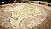 Circle Hilltop With Texas Map At Capital Hill Butler Park In Austin, Texas. Downtown Area, Town Lake poster