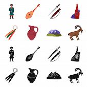 Vector Illustration Of Culture And Sightseeing Sign. Set Of Culture And Originality Stock Symbol For poster