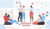 Pregnant Woman Courses. Pregnancy Support Group And Preparation For Childbirth. Happy Couples In Lov poster