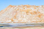 Sand Mountain. Concrete Yellow Gravel Sand Quarry Mountain. Yellow Gravel Sand Quarry Mountain For C poster