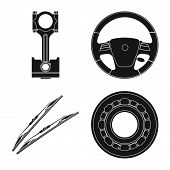 Isolated Object Of Auto And Part Symbol. Set Of Auto And Car Vector Icon For Stock. poster