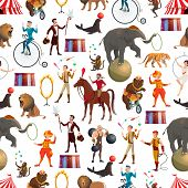 Circus Entertainment Show Seamless Pattern. Vector Background Of Circus Tamer With Lion In Fire Ring poster