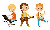 Set Of Kids Standing And Playing Different Musical Instruments. Characters poster