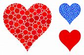 Hearts Suit Mosaic For Hearts Suit Icon Of Round Dots In Different Sizes And Color Tints. Vector Dot poster
