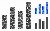 Bar Graph Mosaic For Bar Graph Icon Of Filled Circles In Different Sizes And Color Hues. Vector Fill poster