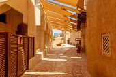 Old Dubai. Traditional Arabic Streets In Historical Al Fahidi District, Al Bastakiya. Dubai, United  poster