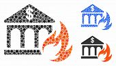 Bank Fire Disaster Composition For Bank Fire Disaster Icon Of Circle Elements In Variable Sizes And  poster