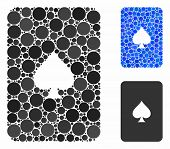 Peaks Playing Card Mosaic For Peaks Playing Card Icon Of Small Circles In Variable Sizes And Shades. poster