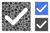 Valid Tick Mosaic For Valid Tick Icon Of Small Circles In Different Sizes And Color Tones. Vector Sm poster