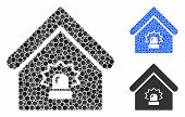 Realty Alarm Mosaic For Realty Alarm Icon Of Round Dots In Different Sizes And Color Hues. Vector Ro poster