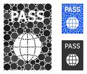Passport Mosaic For Passport Icon Of Circle Elements In Variable Sizes And Shades. Vector Circle Ele poster