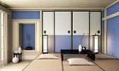 Ryokan Blue Room Zen Very Japanese Style.3D Rendering poster