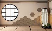 Hexagon Wooden Tiles On Wall And Lamp On Tatami Mat Floor, Empty Room Japanese Style.3D Rendering poster