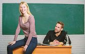 Students In Classroom Chalkboard Background. Equal Rights And Liberties. Man And Woman Study Univers poster