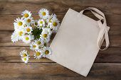 Canvas Tote Bag Mockup With Daisy Bouquet. Rustic Lines Shopper Bag Mock Up For Branding Presentatio poster
