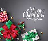Christmas Gifts Vector Banner Background. Merry Christmas Greeting Typography Text In Empty Space Fo poster
