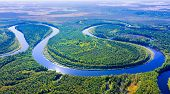 Aerial Photography Of Landscape In Western Siberia. Agan River, Tributary Of Ob River. poster