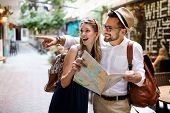 Summer Holidays, Dating, Love And Tourism Concept. Smiling Couple In The City poster