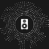 White Stereo Speaker Icon Isolated On Grey Background. Sound System Speakers. Music Icon. Musical Co poster