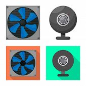 Vector Illustration Of Accessories And Device Symbol. Collection Of Accessories And Electronics Vect poster