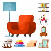 Vector Design Of Furniture And Interior Sign. Set Of Furniture And Accessories Stock Vector Illustra poster