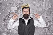 King Of Style. Bearded Hipster Shaving. Vintage Barber. Barber Hold Hairdresser Equipment Blade And  poster