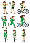 picture of netball  - Collection of isolated woman doing exercises - JPG