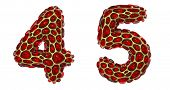 Number set 4, 5 made of realistic 3d render golden shining metallic. Collection of gold shining meta poster
