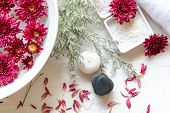 Thai Spa Treatments Aroma Therapy Salt And Sugar Scrub And Rock Massage With Red Flower With Candle  poster
