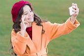 Perfect Photo. Application For Smartphone. Modern Communication. Girl Hold Smartphone Taking Selfie. poster